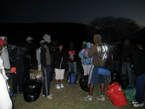 Pre-dawn start to the students' long hike
