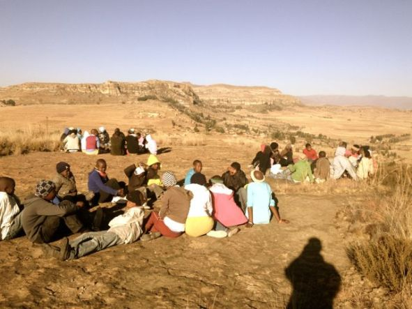 Discussing values on top of Nkoeng Mountain at the LXP Lesotho Saturday Youth Program