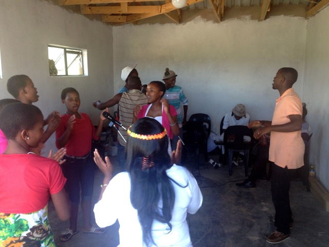 """Worship Team practice in the """"studio"""" (garage). It's great to have an enclosed space to set up the sound system and sing"""